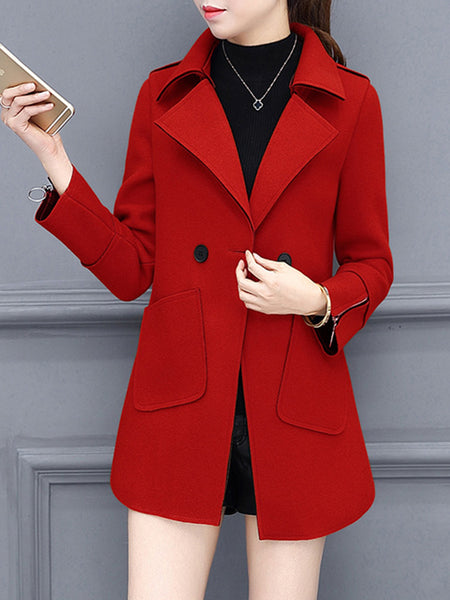 Lapel Patch Pocket Plain Woolen Trench Coat