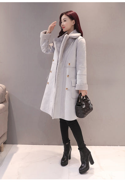 Turn-Down Collar Pure Color Slim Woolen Coat