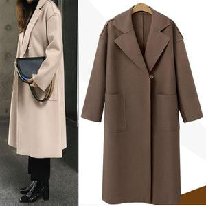 Women's Solid Color Cashmere Long Woolen Coat