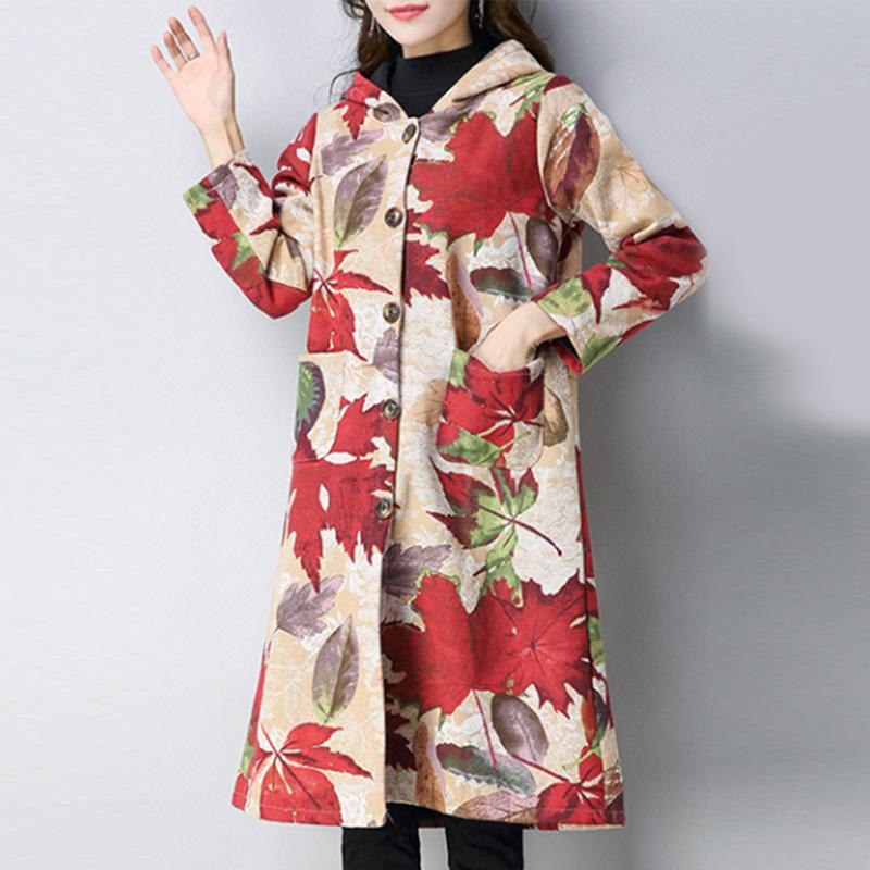 Hooded Printed Patch Pocket Fleece Lined Trench Coat