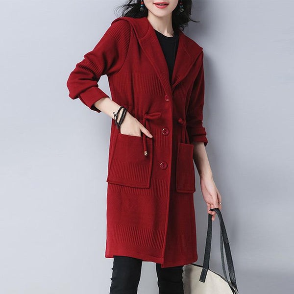 Hooded Drawstring Patch Pocket Single Breasted Plain Coat