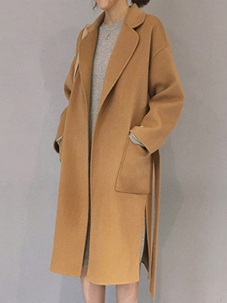 Lapel Patch Pocket Belt Plain Woolen Long Coat