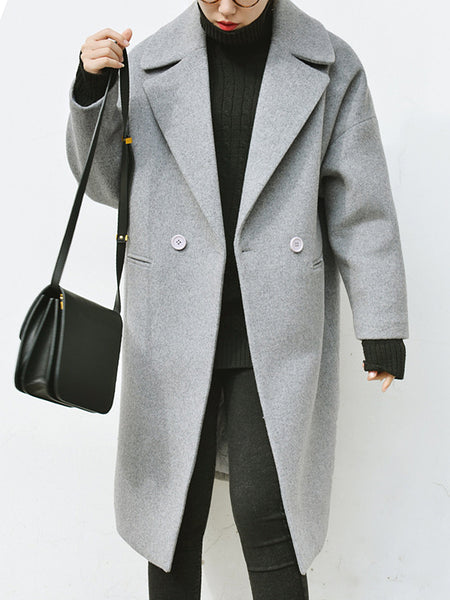 Lapel Plain Pocket Woolen Coat