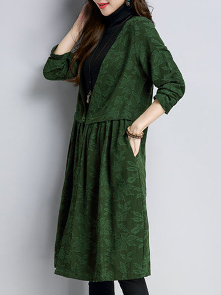 Collarless Single Button Pocket Printed Trench Coat