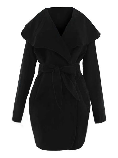 Double-Sided Lapel Solid Coat