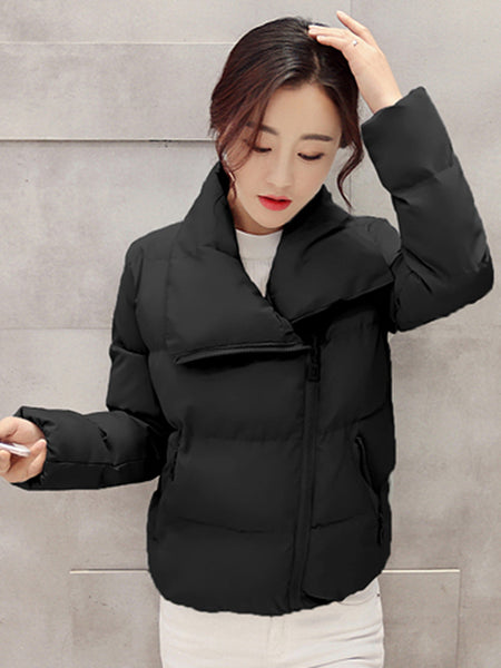 Lapel Pocket Quilted Plain Padded Coat