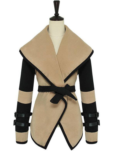 Lapel Belt Color Block Woolen Wrap Coat