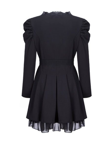 Single Breasted Ruffle Trim Belt Plain Coat