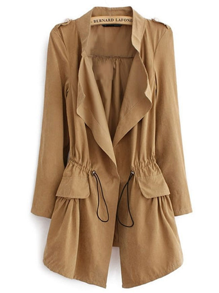 Stylish With Flap Pockets Trench-Coats