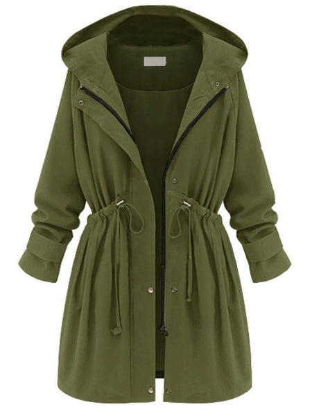 Appealing Lace Up Hooded With Zips Trench-Coat