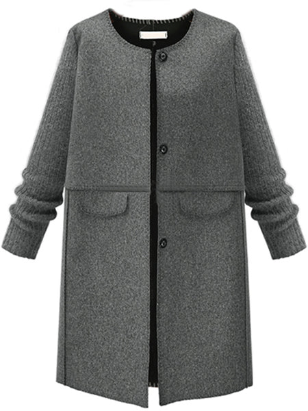 Single Breasted Plain Patchwork Woolen Coat
