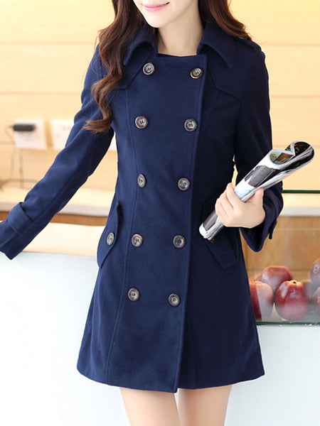 Lapel Double Breasted Flap Pocket Belt Plain Woolen Coat