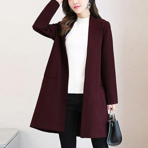 Collarless Pocket Plain Trench Coat