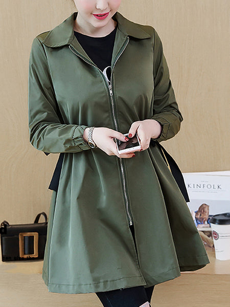 Turn Down Collar Drawstring Plain Trench Coat