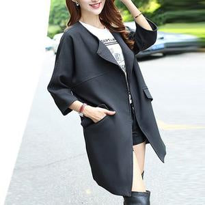 Lapel Flap Pocket Plain Trench Coat