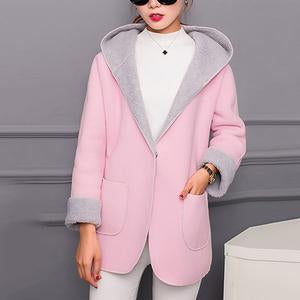 Hooded Patch Pocket Color Block Coat