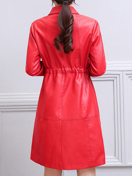 Lapel Drawstring Pocket Plain PU Leather Coat