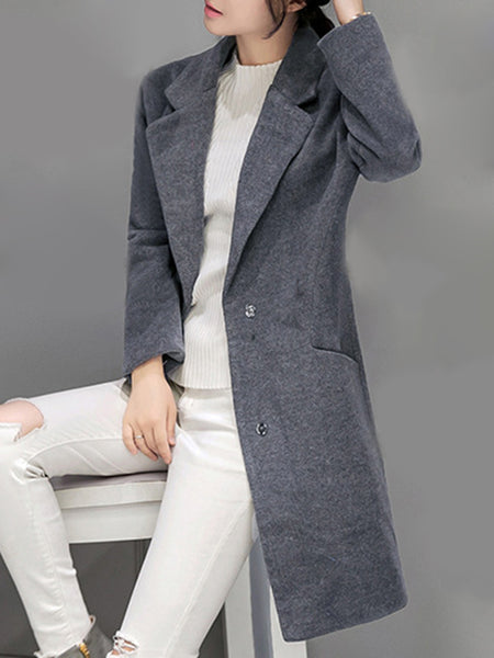 Lapel Plain Pocket Long Woolen Coat