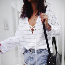 Load image into Gallery viewer, Fashion Casual Loose Strip Long Sleeve Blouse