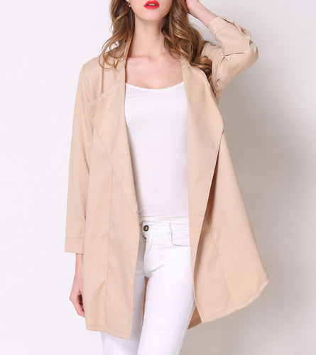 Fashion Lapel Pure Color Loose Blazer