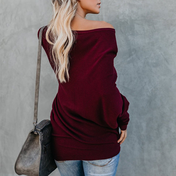 Oblique Collar Knitting Long Sleeve Plain Sweaters