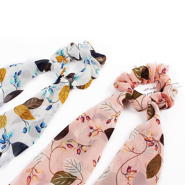2020 Elegant Women's Chiffon Printed Scrunchies Extra Long Streamers Hair Scarf Elastic Bow Hair Band Hair Accessories Rope Ties