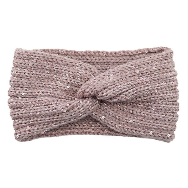 2020 New Sequin Knitted Cross Knotted Headband Ear Warmer Turban Women Girls Elegant Headwrap Autumn Winter Hair Accessories