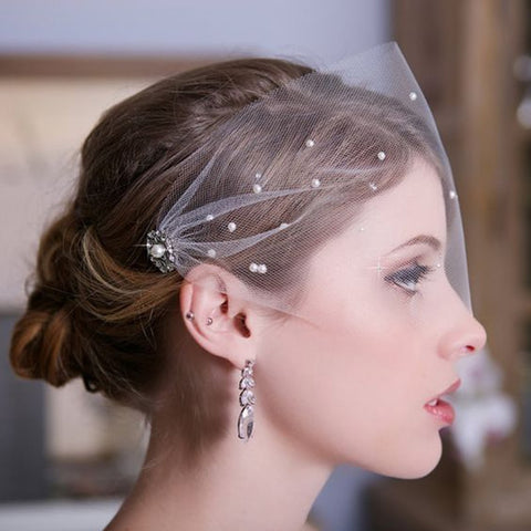 2020 Women Face Bridal Hats and Fascinators Pearls Beaded Wedding Hair With Comb Women Head Wear