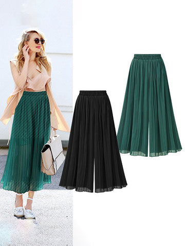 Plain Pleated Loose Chiffon Wide Leg Pants