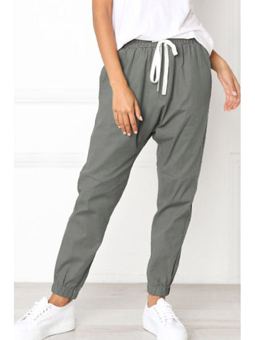 Drawstring Plain Casual Pants