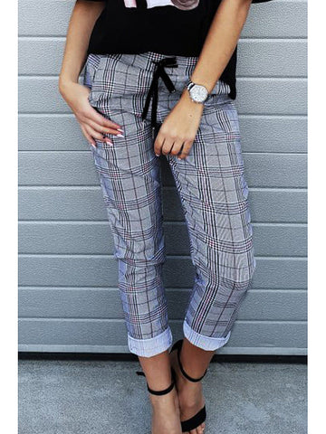 Long Checkered Casual Pants