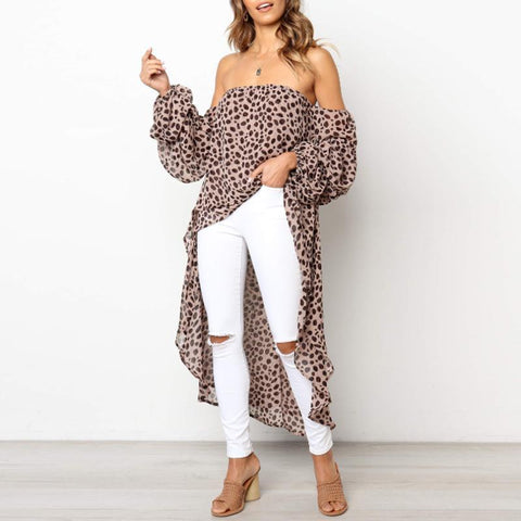 Sexy Strapless Long Sleeve Leopard Printed Asymmetrical Hem Blouses