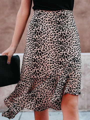 Asymmetrical Hem Leopard Printed Fashion Skirts