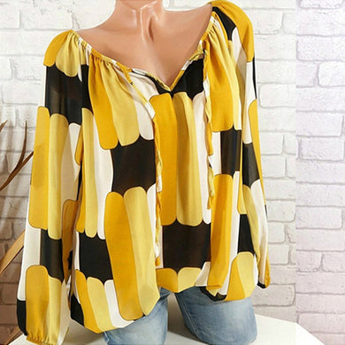 Long Sleeve Off Shoulder Color Block Printed Blouses