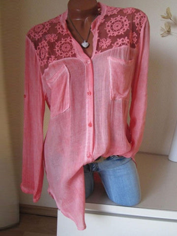 V Neck Button Lace Patchwork Pocket Long Sleeve Casual Blouses