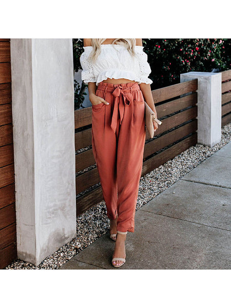 High Waist Slim Straps Casual Pants