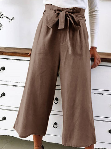 Spring And Summer Leisure Belt Pure Fashion Broad-Legged Pants
