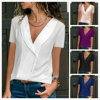 V Neck Short Sleeve Plain Elegant Blouses