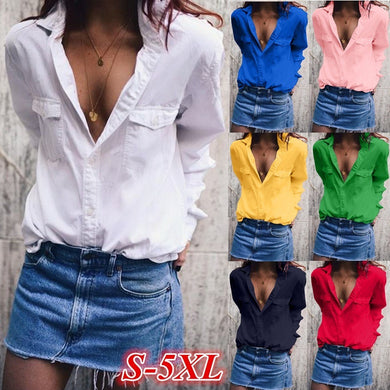 Fashion Wide Lapel Solid Color Blouses