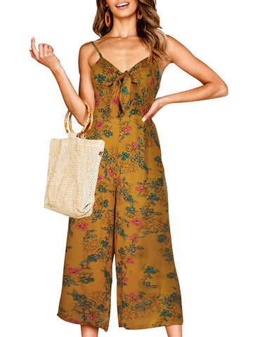 Spaghetti Straps Floral Printed Sleeveless Jumpsuits