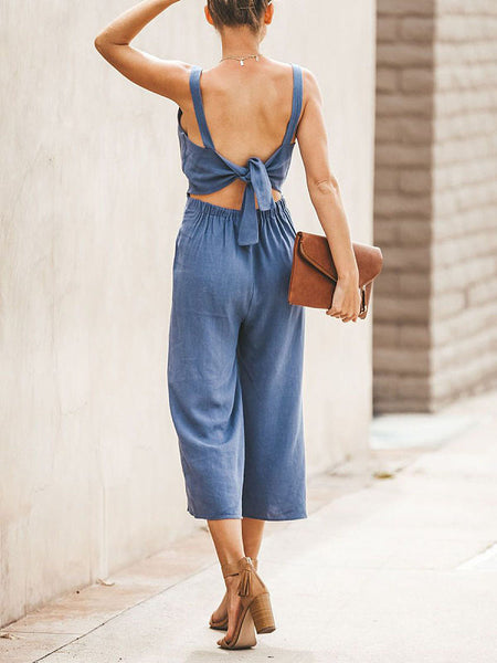 Summer Plain V Collar Backless Button Decorated Jumpsuits