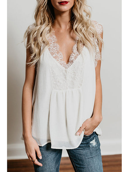 Deep V Neck Patchwork Lace Plain T-Shirts