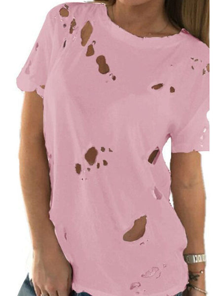 Round Neck Broken Holes Plain T-Shirts