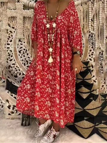 V Neck Printed Loose Half Sleeve Maxi Dresses
