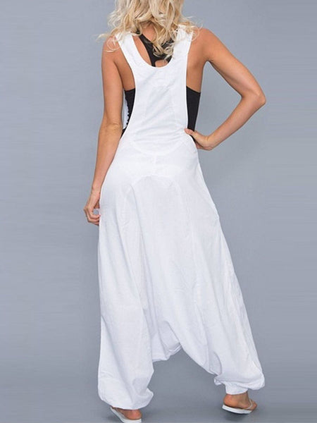 Scoop Neck Sleeveless Loose Jumpsuits