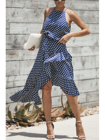 Halter Asymmetric Hem Belt Dot Sleeveless Maxi Dresses
