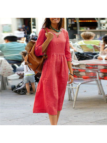 Loose Casual Solid Color Cotton And Linen Dress