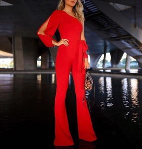 Solid Color One-Shoulder Ruffled Jumpsuit