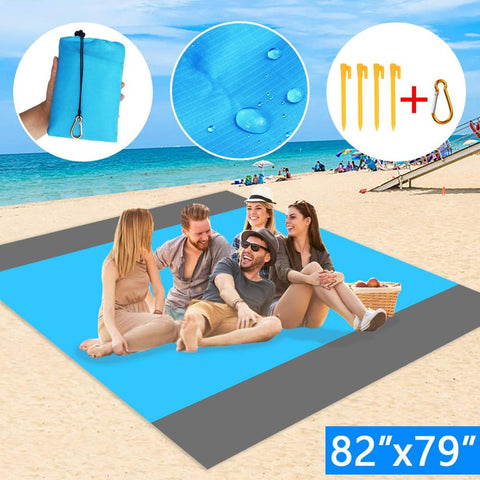 210x200cm Beach Blanket Waterproof Outdoor Portable Picnic Mat Soft Nylon Beach Mat for Travel Hiking Camping Beach Activities