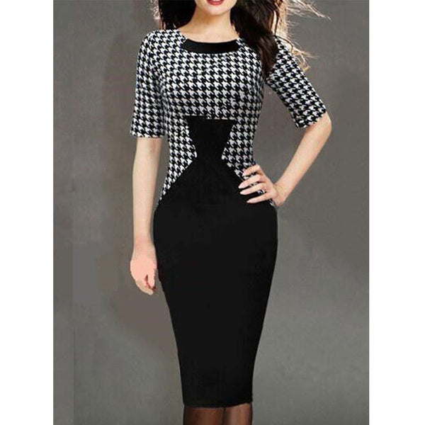 Round Neck Houndstooth Bodycon Dress